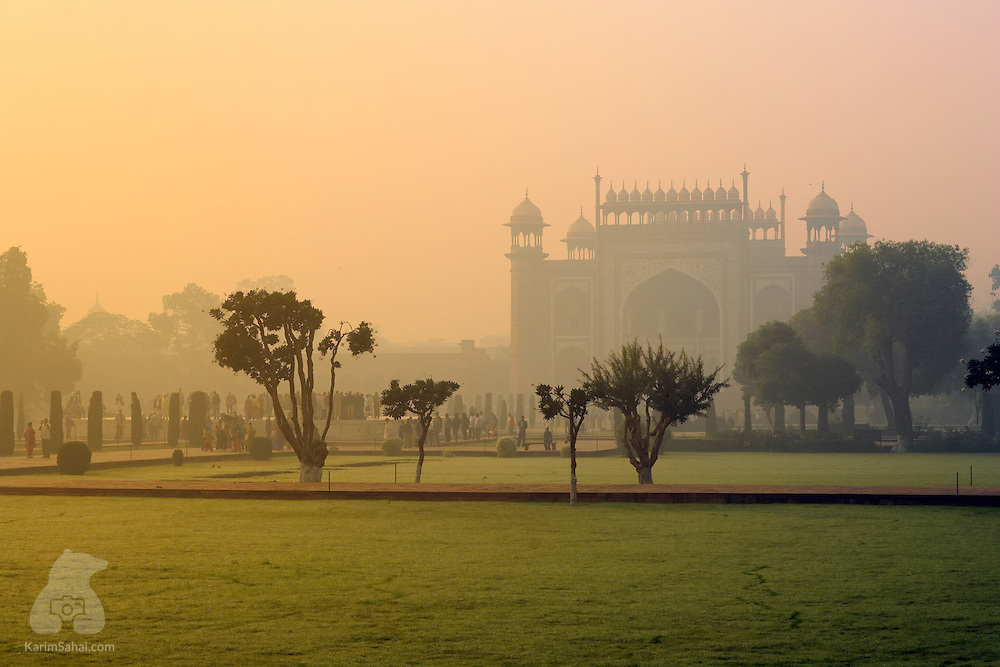 The Taj Mahal's main gate and garden at dusk, Agra, Uttar Pradesh, India.