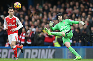 Goalkeeper Petr Cech of Arsenal in action. Premier league match, Chelsea v Arsenal at Stamford Bridge in London on Saturday 4th February 2017.<br /> pic by John Patrick Fletcher, Andrew Orchard sports photography.