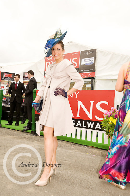 Avril Donnellan, Knocknacarra  finalist in the Anthony Ryan Best Dressed Lady Competition at the Galway Races. Photo:Andrew Downes.