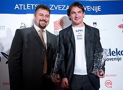 Vladimir Kevo and Primoz Kozmus (R) at Best Slovenian athlete of the year ceremony, on November 15, 2008 in Hotel Lev, Ljubljana, Slovenia. (Photo by Vid Ponikvar / Sportida)