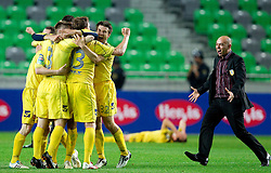 Darko Birjukov, head coach (R) and players of Domzale celebrate after winning the football match between NK Domzale and NK Maribor in final match of Hervis Cup, on May 25, 2011 in SRC Stozice, Ljubljana, Slovenia. Domzale defeated Maribor and became Slovenian Cup Champion 2011. (Photo By Vid Ponikvar / Sportida.com)