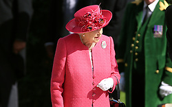 Queen Elizabeth II before awarding the Gold Cup to Jockey Frankie Dettori during day three of Royal Ascot at Ascot Racecourse.