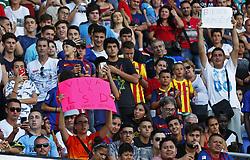 August 28, 2017 - Barcelona, Catalonia, Spain - An supporter baptizes the new FC Barcelona forward as ''LSD'': Leo, Suarez, Dembele, during the presentation of Ousmane Dembele as new player of the FC Barcelona, in Barcelona, on August 28, 2017. (Credit Image: © Joan Valls/NurPhoto via ZUMA Press)