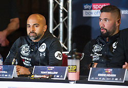 May 3, 2018 - London, London, United Kingdom - Bellew vs David Haye press conference. ..Dave Coldwell (left) and Tony Bellew during the press conference...Tony Bellew vs David Haye press conference at Park Plaza hotel. (Credit Image: © Gustavo Valiente/i-Images via ZUMA Press)