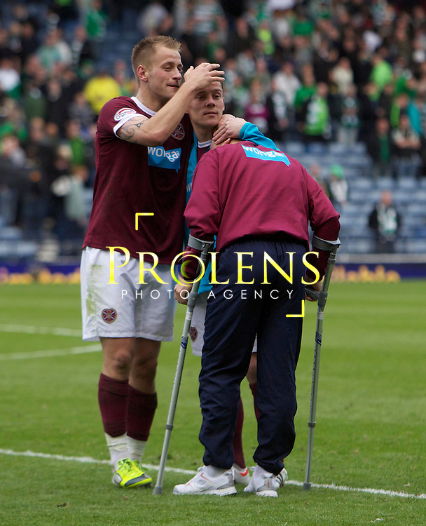 William Hill Scottish FA Cup Semi Final CELTIC FC v HEART OF MIDLOTHIAN FC Season 2011-12.15-04-12...Hearts  Danny Grainger and Ian Black celebrate with Injured Jamie Hamill  during the William Hill Scottish FA Cup Semi Final tie between CELTIC FC and HEART OF MIDLOTHIAN FC with the Winner facing   in this years Scottish Cup Final in May...At Hampden Park Stadium , Glasgow..Sunday 15th April 2012.Picture Mark Davison/ Prolens Photo Agency / PLPA