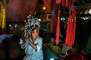 Sai Yong Hong Chinese opera troupe perform at a Chinese temple in Bangkok's Chinatown