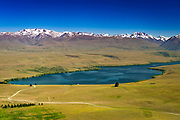 Lake Alexandrina and the Southern Alps from the summit of Mt. John, Canterbury, South Island, New Zealand