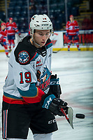 KELOWNA, BC - JANUARY 31: Ethan Ernst #19 of the Kelowna Rockets dangles the puck durign warm up against the Spokane Chiefs at Prospera Place on January 31, 2020 in Kelowna, Canada. (Photo by Marissa Baecker/Shoot the Breeze)