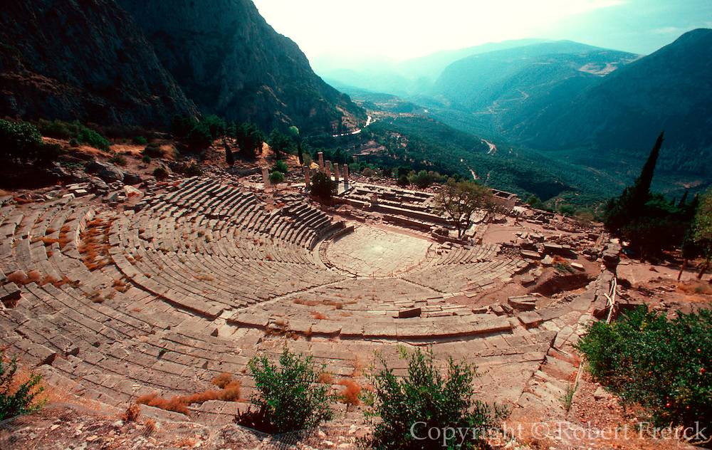 GREECE, HISTORIC SITES Delphi; Overview of the 4thC B.C. Theatre and the Temple of Apollo built in the Doric style in 366-329 B.C.