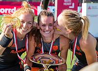 ANTWERPEN -  Oranje wint de finale. Margot Van Geffen (Ned) , Lidewij Welten (Ned) en Ireen van den Assem (Ned)  De finale  dames  Nederland-Duitsland  (2-0) bij het Europees kampioenschap hockey.   COPYRIGHT  KOEN SUYK