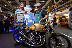 PDF Motociclette's Stefano Martinelli and Frenky Davide Francavilla of Bergamo, Italy pose with their custom Vincent and the Queen at Motor Bike Expo (MBE) bike show. Verona, Italy. Friday, January 17, 2020. Photography ©2020 Michael Lichter.