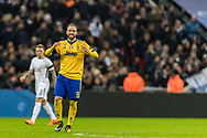 Juventus midfielder forward Gonzalo Higuain celebrates his goal during the Champions League match between Tottenham Hotspur and Juventus FC at Wembley Stadium, London, England on 7 March 2018. Picture by Toyin Oshodi.