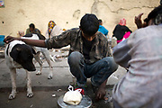 A homeless man with a stray dog by the side of the road at a temporary shelter in Karol Bagh, New Delhi, India