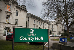 © Licensed to London News Pictures. 08/02/2017. London, UK. Surrey County Council - County Hall in Kingston upon Thames. Labour leader Jeremy Corbyn has accused government ministers of agreeing a sweetheart deal to ensure Conservative controlled Surrey County Council scrapped plans to raise council tax by up to 15%. Photo credit: Peter Macdiarmid/LNP