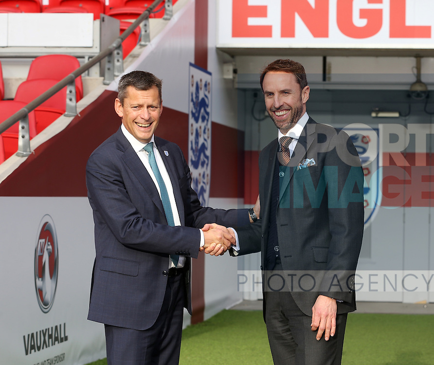England Gareth Southgate with Martin Glenn during his press conference at Wembley Stadium, London. Picture date December 1st, 2016 Pic David Klein/Sportimage