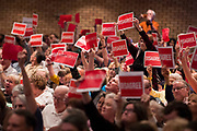 Visitors voice their opinions while Rep. Pete Sessions speaks during a town hall event at Richardson High School in Richardson, Texas on March 18, 2017. (Cooper Neill for The Texas Tribune)