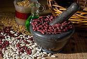 red kidney beans and white beans with Pestle and Mortar