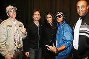 l to r: Jose Guzman, David Strumeier, Jeslene Gonzalez, Kissk, and John Starks at the South Pole Fashion show during ' The Stay in School Concert ' facilated by Entertainers for Education held at The Manhattan Center on October 28, 2008 in New York City