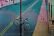 "Bike chained by a mural painted on cafe wall on Warren Avenue, near Waynne State University. Known as the world's traditional automotive center, ""Detroit"" is a metonym for the American automobile industry and an important source of popular music legacies celebrated by the city's two familiar nicknames, the Motor City and Motown. Many neighborhoods remain distressed since the collapse of the motor industry. The state governor declared a financial emergency in March 2013, appointing an emergency manager. On July 18, 2013, Detroit filed the largest municipal bankruptcy case in U.S. history."