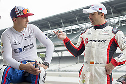 May 18, 2018 - Indianapolis, Indiana, United States of America - GRAHAM RAHAL (15) of the United States and ORIOL SERVIA (64) of Spain share a quick word following practice runs during ''Fast Friday'' for the Indianapolis 500 at the Indianapolis Motor Speedway in Indianapolis, Indiana. (Credit Image: © Chris Owens Asp Inc/ASP via ZUMA Wire)