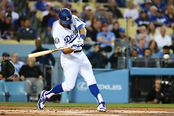 April 13, 2018 - Los Angeles, CA, U.S. - LOS ANGELES, CA - APRIL 13: Los Angeles Dodgers Center field Chris Taylor (3) leads off the game with a solo homer for the Dodger in the game between the Arizona Diamondbacks and Los Angeles Dodgers on April 13, 2018, at Dodger Stadium in Los Angeles, CA.(Photo by Peter Joneleit/Icon Sportswire) (Credit Image: © Peter Joneleit/Icon SMI via ZUMA Press)