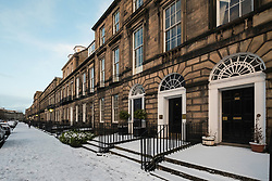 View of Heriot Row in Edinburgh New Town after snow , Scotland, United Kingdom