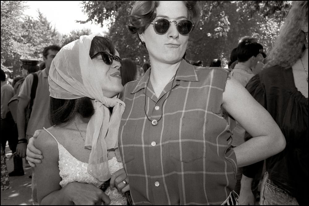 Maria Maggenti and Sarah Pettit at Wigstock, an annual outdoor drag festival that began in the 1980s in Tompkins Square Park in the East Village of New York City that took place on Labor Day. 1989