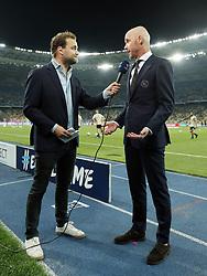 (L-R) interviewer Wytse van der Goot, Ajax coach Erik ten Hag during the UEFA Champions League play offs round second leg match between Dynamo Kyiv and Ajax Amsterdam at the NSK Olimpiyskyi on August 28, 2018 in Kyiv, Ukraine