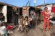 Roma Gypsy homes in a place known as Dallas, nearby where many thousand Roma Gypsies earn their living recycling in the local rubbish dump, Cluj-Napoca in Romania