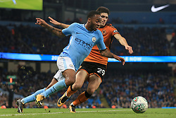 24th October 2017 - Carabao Cup (4th Round) - Manchester City v Wolverhampton Wanderers - Raheem Sterling of Man City battles with Ruben Vinagre of Wolves - Photo: Simon Stacpoole / Offside.