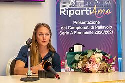 MASSIMO BOSELLI E CARLI LLOYD<br /> PRESENTAZIONE CAMPIONATO PALLAVOLO FEMMINILE SERIE A 2020-2021 A BERGAMO<br /> BERGAMO 15-09-2020<br /> FOTO FILIPPO RUBIN