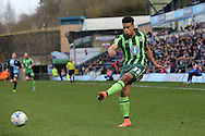 Lyle Taylor of AFC Wimbledon crosses the ball. Skybet football league two match, Wycombe Wanderers  v AFC Wimbledon at Adams Park  in High Wycombe, Buckinghamshire on Saturday 2nd April 2016.<br /> pic by John Patrick Fletcher, Andrew Orchard sports photography.