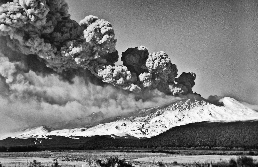 black and white image of the june 96 eruption, shot in film from National Park.<br />
