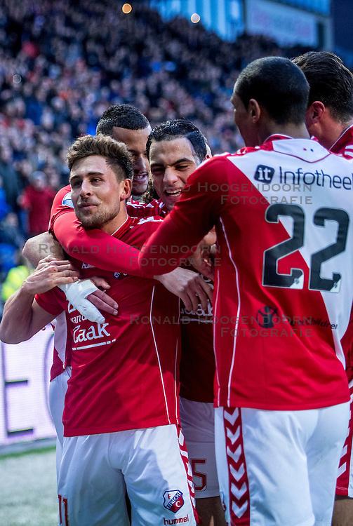 05-02-2017 NED: FC Utrecht - Heerenveen, Utrecht<br /> 21e speelronde van seizoen 2016-2017, Nieuw Galgenwaard / Andreas Ludwig #11 DUI scoort de 1-0