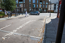 London, UK. 12 July, 2019. The site where Younis Bentahar, aged 38, was violently arrested by Metropolitan Police officers on 10th July following a 5-stage warning. The incident, during which Mr Bentahar appeared to be having a seizure, has since been referred to the Metropolitan Police's Central East Command Professional Standards Unit after a video of the arrest went viral on social media. Mr Bentahar was filmed being struck with handcuffs and pinned down by police officers after he had stopped on a single yellow line with a disabled badge displayed and ignored the five-stage warning.