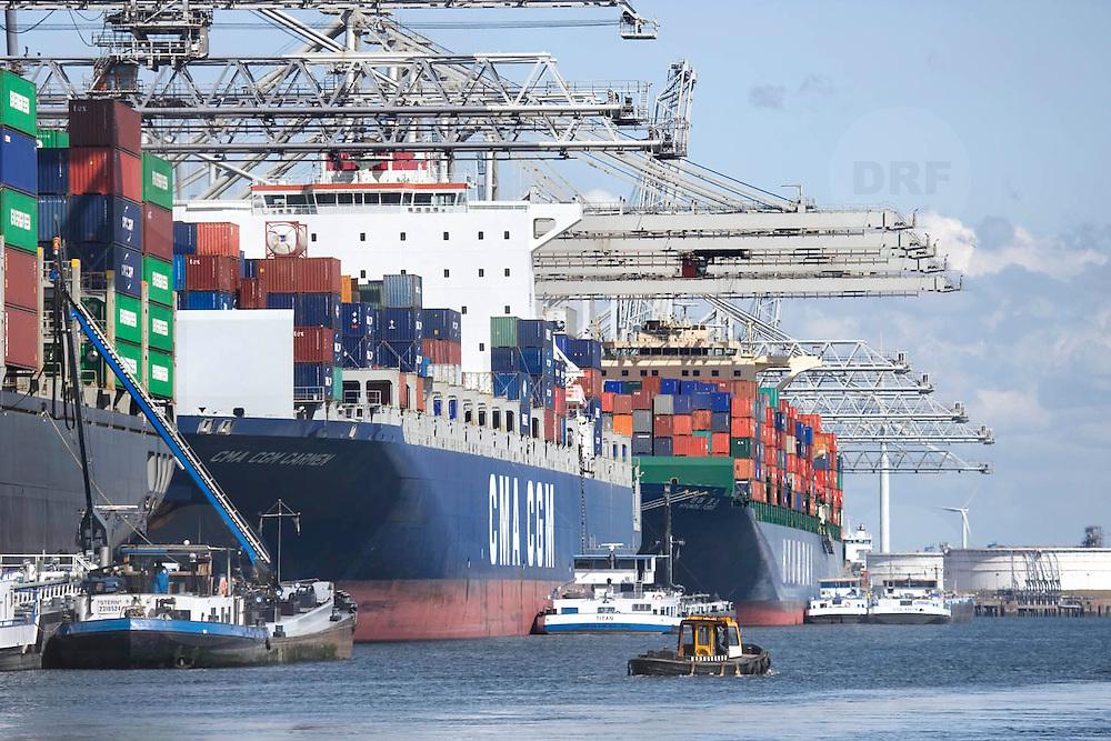 Nederland Zuid-Holland Rotterdam  27-08-2009 20090827 Foto: David Rozing .Serie over logistieke sector.ECT Delta terminal in de haven van Rotterdam. .Reusachtige zeeschepen aan de kade om gelost en geladen te worden, op de voorgrond een bootje dat helpt bij afmeren, naast de zeeschapen liggen binnenvaartschepen afgemeerd die een deel van de vracht verder over het water vervoeren. .ECT,European Container Terminals, at the Port of Rotterdam. Europe's biggest and most advanced container terminal operator, handling close to three- quarters of all containers passing through the Port of Rotterdam. ECT is a member of the Hutchison Port Holdings group (HPH), the world's biggest container stevedore with terminals on every Continent. ECT Delta Terminal offers an unequalled water depth. , vervoer, vervoer per schip, vervoerder, Vervoerders, vrachtschepen, vrachtschip, water, waterhuishouding, welvaart, wereldhandel, zeehaven, zeehavens, zeeschepen, zeeschip, zeevaart.Holland, The Netherlands, dutch, Pays Bas, Europe .Foto: David Rozing