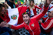 Moscow, Russia, 15/06/2018.<br /> Peru fans in central Moscow during the 2018 FIFA World Cup.