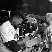 David Ortiz, Boston Red Sox, in the dugout preparing to bat during the New York Mets Vs Boston Red Sox MLB regular season baseball game at Citi Field, Queens, New York. USA. 29th August 2015. Photo Tim Clayton