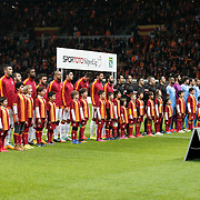 Galatasaray's and Trabzonspor's players during their Turkish superleague soccer derby match Galatasaray between Trabzonspor at the AliSamiYen spor kompleksi TT Arena in Istanbul Turkey on Saturday, 22 November 2014. Photo by Aykut AKICI/TURKPIX