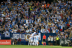 September 26, 2018 - Oscar of Leganes celebrates the goal during the La Liga (Spanish Championship) football match between CD Leganes and FC Barcelona on September 26th, 2018 at Municipal Butarque stadium in Madrid, Spain. (Credit Image: © AFP7 via ZUMA Wire)