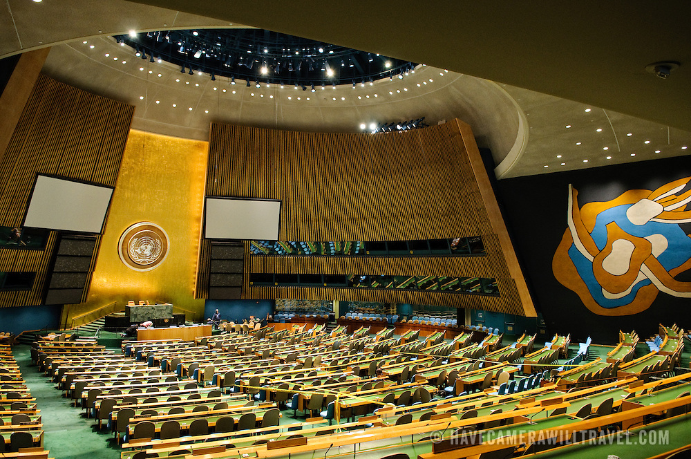 Interior of the chamber of the UN General Assembly at United Nations headquarters in New York