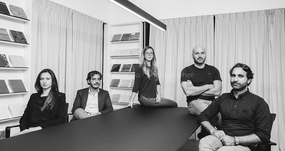 PALERMO, 7 OCTOBER 2020: (L-R) Archiitects of Studio DiDeA, Emanuea Di Gaetano (co-founder), Giuseppe Delisi (co-founder), Maristella Galia Emanuela (associated architect), Nicola Andò (co-founder) and Alfonso Riccio (co-founder) pose for a portrait at Studio DiDeA in Palermo, Italy, on October 7th 2020. <br /> <br /> Studio DiDeA is an associated studio based in Palermo, which deals with architectural design and interior design, in the residential and commercial sectors.