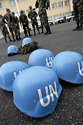 1995, Macedonia --- Blue and white United Nations helmets are standard issue for each soldier who serves in the UN's peacekeeping forces. --- Image by © Leif Skoogfors