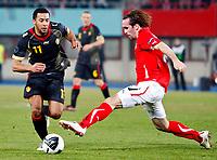 Fotball<br /> EM-kvalifisering<br /> Østerrike v Belgia<br /> 25.03.2011<br /> Foto: Gepa/Digitalsport<br /> NORWAY ONLY<br /> <br /> Bild zeigt Moussa Dembele (BEL) und Christian Fuchs (AUT).