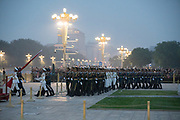 The military ceremony for the dropping of the flag at dusk. Note the surveillance cameras<br /><br />The well known square at Beijing's historic centre, with the Chairman Mao memorial hall, and entrance to the forbidden city nearby. For us, memories of the massacre at Tiananman square, for the Chinese a place to go and pay hommage to Chairmam Mao. Beijing, China