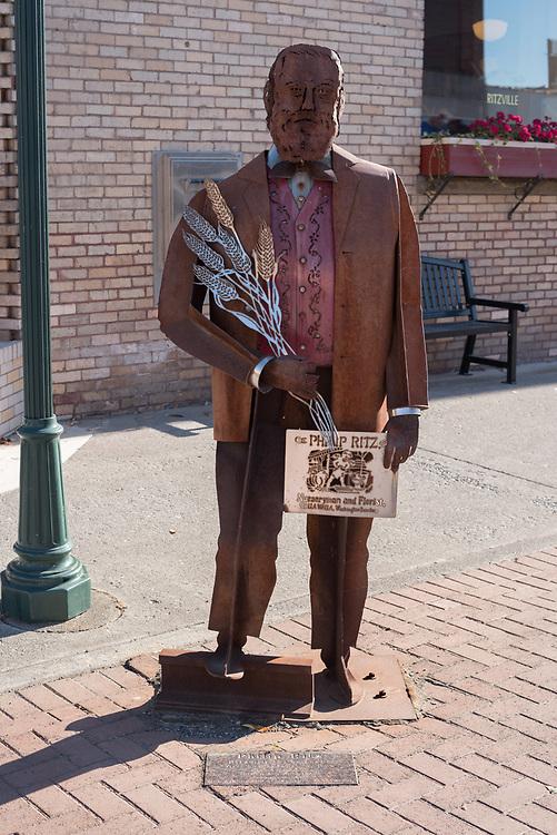 Metal sculpture of Philip Ritz, created by<br /> Sherryl & Vince Evans, in Ritzville, Washington.