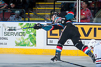 KELOWNA, CANADA - SEPTEMBER 24: Cal Foote #25 of the Kelowna Rockets shoots the puck against the Kamloops Blazers on September 24, 2016 at Prospera Place in Kelowna, British Columbia, Canada.  (Photo by Marissa Baecker/Shoot the Breeze)  *** Local Caption *** Cal Foote;