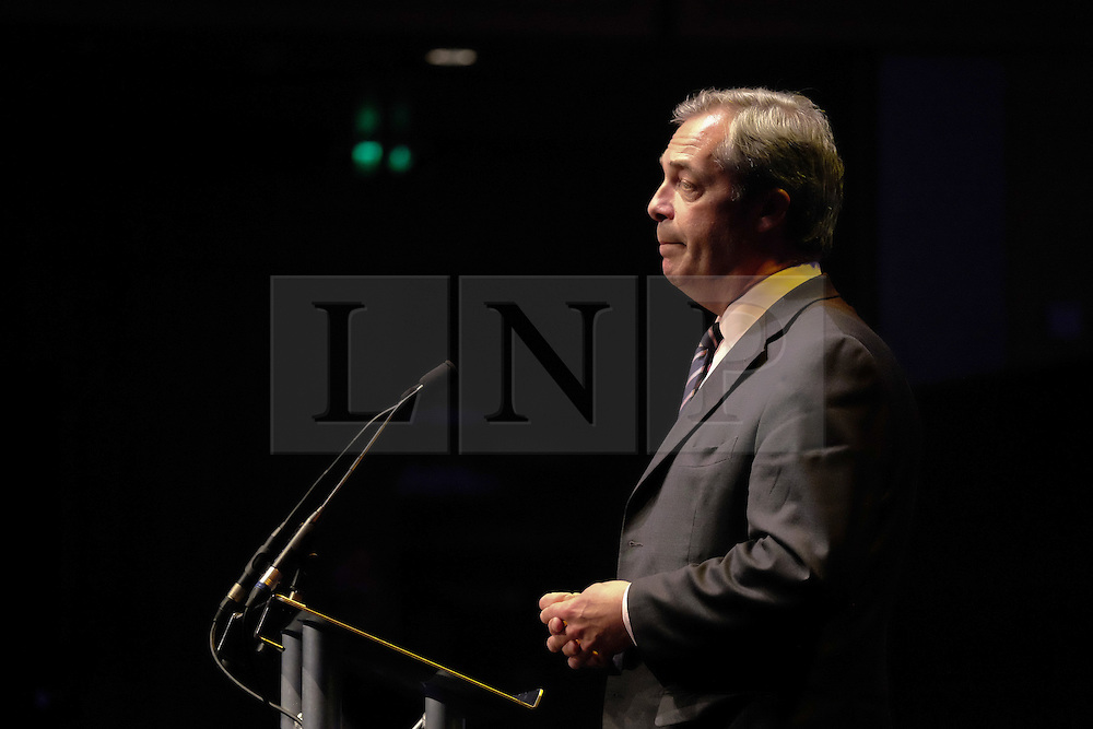 © Licensed to London News Pictures. <br /> 20/06/2016. <br /> Gateshead, UK.  <br /> <br /> Nigel Farage MEP addresses members of the public and supporters at a public meeting on the European Union referendum held by the Leave campaign at the Sage building in Gateshead. <br /> <br /> The meeting was held to try and persuade voters to vote leave in the European Referendum when the country goes to the polls on June 23rd.  <br /> <br /> Photo credit: Ian Forsyth/LNP