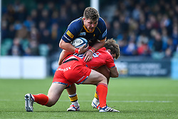 Ethan Waller of Worcester Warriors is tackled by AJ MacGinty of Sale Sharks - Mandatory by-line: Craig Thomas/JMP - 13/04/2019 - RUGBY - Sixways Stadium - Worcester, England - Worcester Warriors v Sale Sharks - Gallagher Premiership Rugby