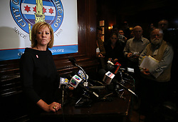 February 5, 2018 - Chicago, IL, USA - Illinois State Rep. Jeanne Ives (R-Wheaton) talks to the media after giving a speech at the City Club luncheon in Chicago on Monday, Feb. 5, 2018, following the release of a controversial campaign advertisement. (Credit Image: © Terrence Antonio James/TNS via ZUMA Wire)